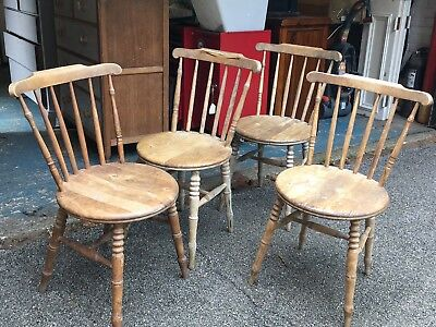 Antique Elm Penny Seat Kitchen Dining Farmhouse Chairs