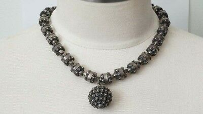 E420 Fabulous Mexican Sterling Etruscan Cannetille Necklace & Pendant Signed MD.