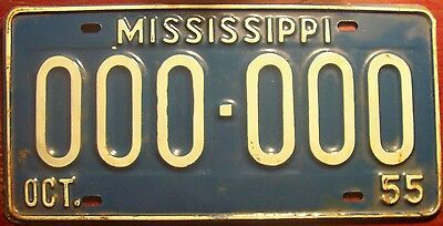 1955 Mississippi Sample All Zeros License Plate Auto Tag 000-000 Vintage Ms Miss
