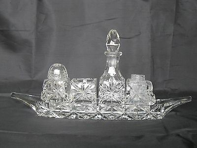 VINTAGE CUT GLASS CONDIMENT SET BOAT SHAPE STYLE EDWARDIAN? - spares restoration