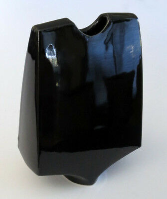 Vintage Modernist Toyo Ikebana Japanese Flower Arrangement Vase Gloss Black