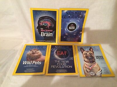 5 X National Geographic Magazines  , 2014 Lot 1  .