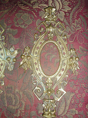Pair Ornate Gothic Victorian Cast Brass Figural Frame Sconce Parts