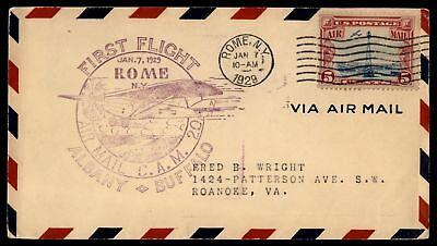 Mayfairstamps Rome Ny Jan 7 1929 FFC Cam 20 Air Mail Cover To Roanoke Virginia S