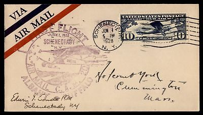 Mayfairstamps Schenectady Ny Jun 1 1928 FFC Cam 20 Air Mail Cover To Albany Sign