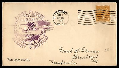 Mayfairstamps ALBANY NY JUN 7 1928 FFC CAM 20 AIR MAIL COVER TO BUFFALO FWD TO B