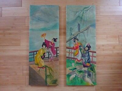 Pair of paintings Rosalyn Katz Japanese vintage oriental canvas antique signed