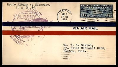 Mayfairstamps Albany Ny Jun 7 1928 FFC Cam 20 Air Mail Cover To Syracuse W/ Back
