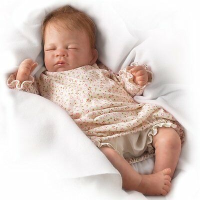 Ashton Drake - Hush Little Lifelike Breathing Baby Girl Doll By Waltraud Hanl