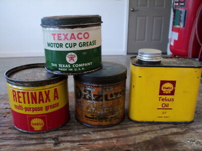 4 Can Lot of Shell, Texaco, and Oilzum 1 lb. Grease Cans - Gas Oil Service Sign