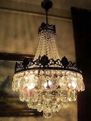 Antique Vintage French  Basket Style Crystal Chandelier Lamp Light 1940's.14 in.