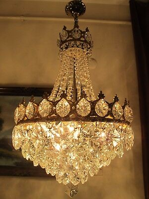 Antique RARE Large French Basket style BOHEMIA Crystal Chandelier Lamp 1940's A2