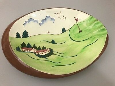 "11"" Vintage Stangl Ashtray Golf Scene"