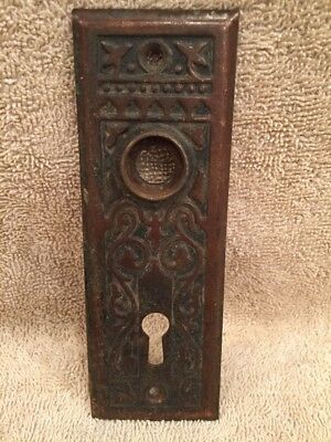 Antique Stamped Steel Victorian Door Knob Back Plate Escutcheon Crafts Projects
