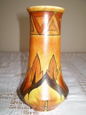 Clews & Co Chameleon Ware 1935+ Hand Painted Brown Flame Pattern Vase