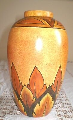 Clews & Co Chameleon Ware 1935+ Hand Painted Brown Flame Pattern Vase (2)