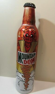 Mountain Dew Green Label Art Aluminum Bottle Empty Original Cap Zombie