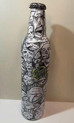 Mountain Dew Green Label Art Aluminum Bottle Empty Original Cap Crowd