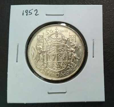 1952 CANADA 50 CENT COIN 80% SILVER - Very nice coin. 65 Years old.