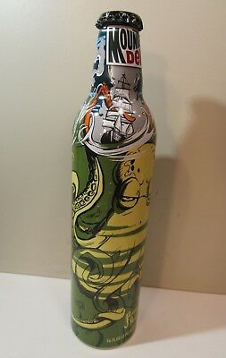 Mountain Dew Green Label Art Aluminum Bottle Empty Original Cap Stephen Bliss