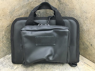 Bagmaster Black Biker Leather Gun Pistol Ammo Shooting Range Bag LREC 9 BLK