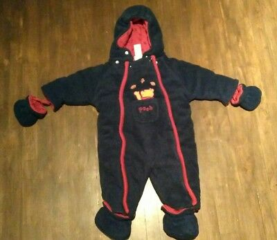baby fall suit onepiece Disney Winnie the Pooh 0-3m warm blue and red