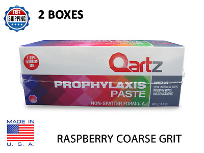 2 Boxes Qartz Prophy Paste Cups Raspberry Coarse 200/box  Dental W/fluoride