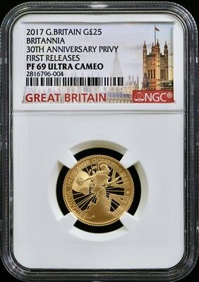 2017 GBritain Gold 20th Anniv Trident Privy Proof 1/4Oz £25 NGC PF69 1st Release