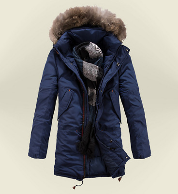 New Winter Blue Mens Military Trench Coat Ski Jacket Hooded Parka Thick Cotton