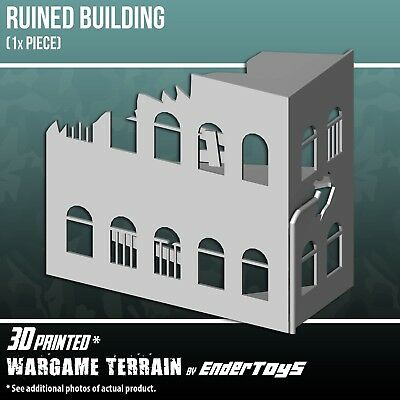 Ruined Building, Terrain for Tabletop 28mm, 3D Printed and Paintable, EnderToys
