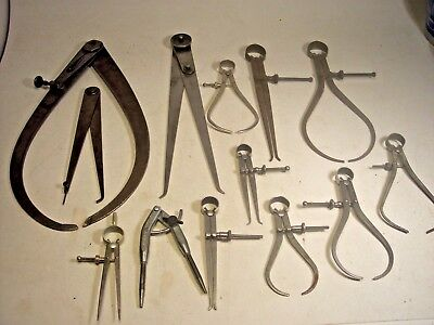 Lot of 13 Vintage Machinist Tools Various Makers Starrett-Lufkin-Union-others