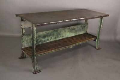 Antique Industrial Metal Work Bench W Wood Slat Shelf and Original Patina(10661)