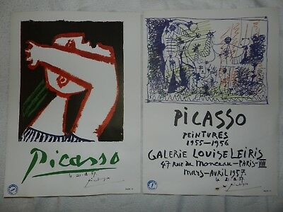 Pablo Picasso 2 rare vintage 1957 large poster print hand signed Gallery st art