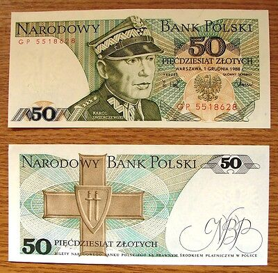 One Very Collectable Withdrawn Unc Polish 50  Zlotych Bank Note Dated 1988