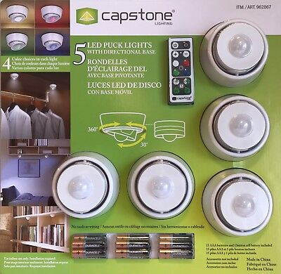5 Capstone LED Puck Lights With Remote Control & Directional Base inc Batteries