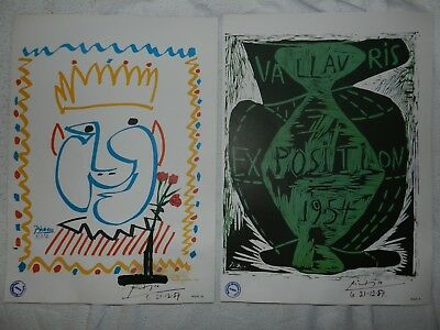 Pablo Picasso 2 poster 1957 print hand signed + Original drawing, Gallery stamp