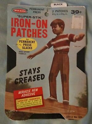 Vintage Black Iron On Patches by Penn Super-Stik Style 426 Made in USA