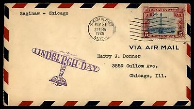 Mayfairstamps Saginaw MI To Chicago 1929 Lindbergh Day Cover With C11