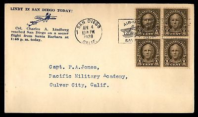 Mayfairstamps Lindbergh Visit to San Diego 1928 April 4 Cachet on Cover