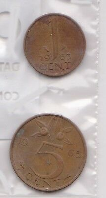 (H75-40) 1963 Netherlands 1c and 5c coins (A)