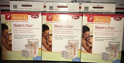 Ameda Store 'N Pour Breast Milk Storage Bags - 60 sealed + 6 Pump Adapters