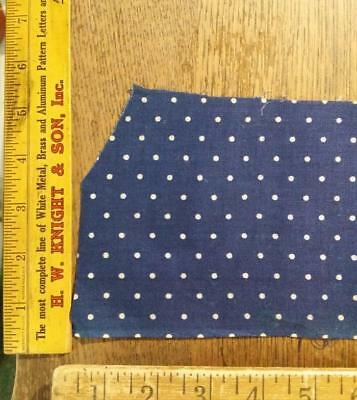 Antique Indigo Blue White Dots Fabric Scrap Piece 14.5x 13x 4