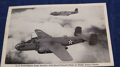Official US Army Postcard Photograph Twin Engine Bomber in Flight