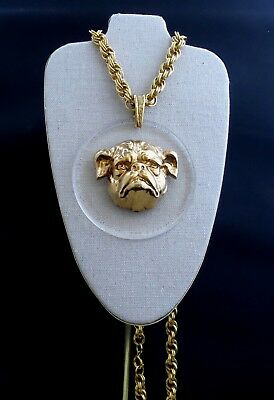 HUGE Vintage Signed ART BULLDOG Lucite Pendant Necklace