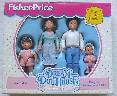 Fisher Price Dream Dollhouse Hispanic Family NIB Father Mother Sister Baby 1995