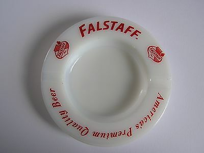 Falstaff 'America's Premimum Quality Beer' Milk Glass ashtray