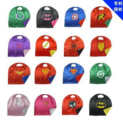 Adult Kids Girl Boy Cloak Superhero Cape Poncho Halloween Birthday Party Costume