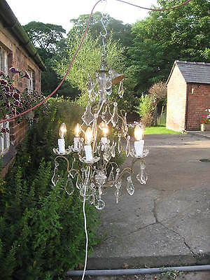 Large Impressive 6 Branch French Chandelier With Lots Of Drops C1940 Spray /3961