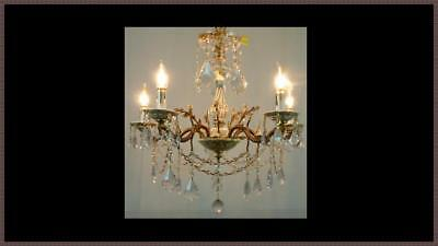 Gorgeous Vintage European Brass Chandelier Amazing Crystals & Porcelain