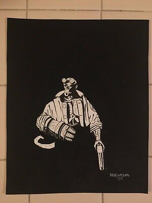 Original 8X10 Jon Djulvezan Hellboy Art Commission Drawing After Mike Mignola